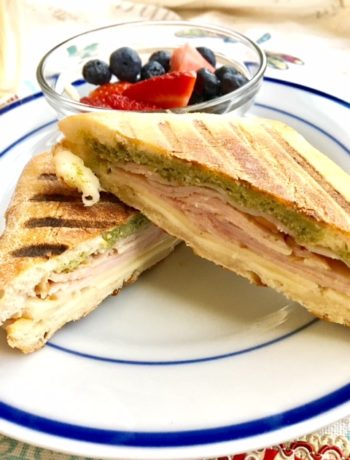 turkey panini with a side of fruit