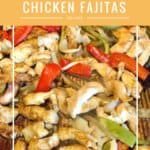 sliced chicken made into fajitas with red and green peppers and onions on a sheet pan.