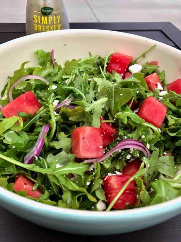 arugula watermelon feta summer salad dressing
