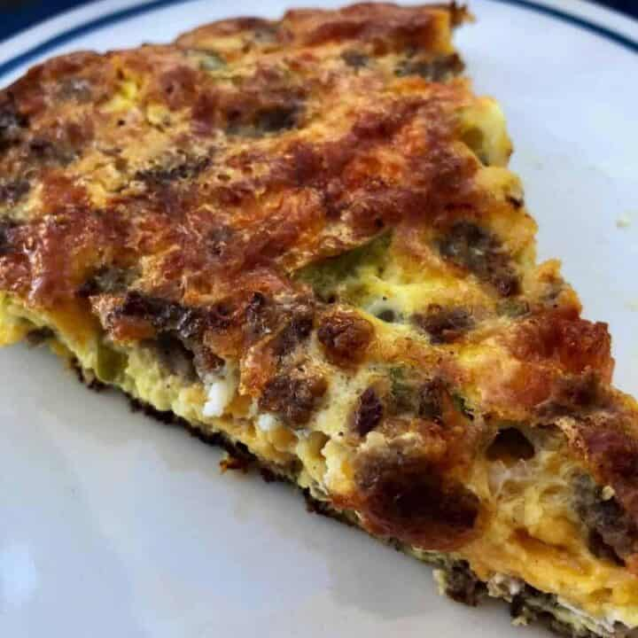 heartly slice of crustless sausage quiche