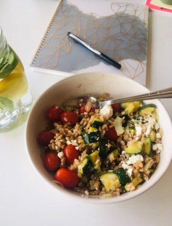 italian farro salad recipe in a bowl