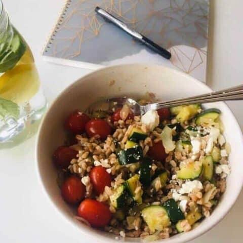 italian farro salad recipe in a bowl