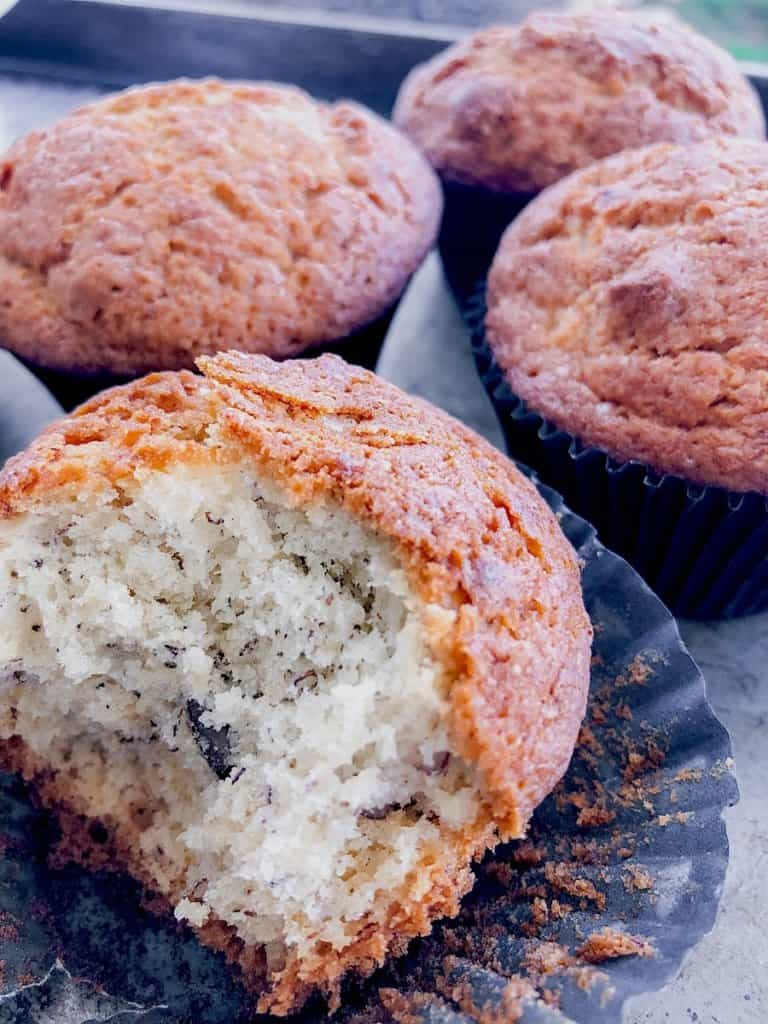 banana bread muffins in a group