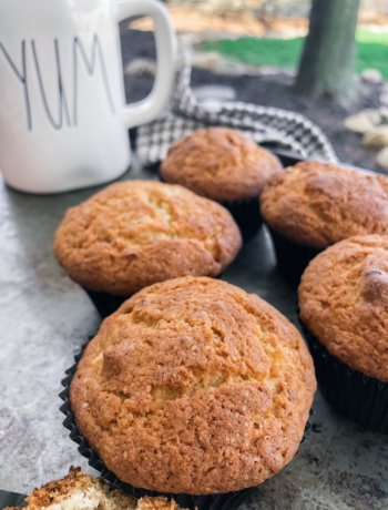five easy banana bread muffins on a tray with a coffee cup.