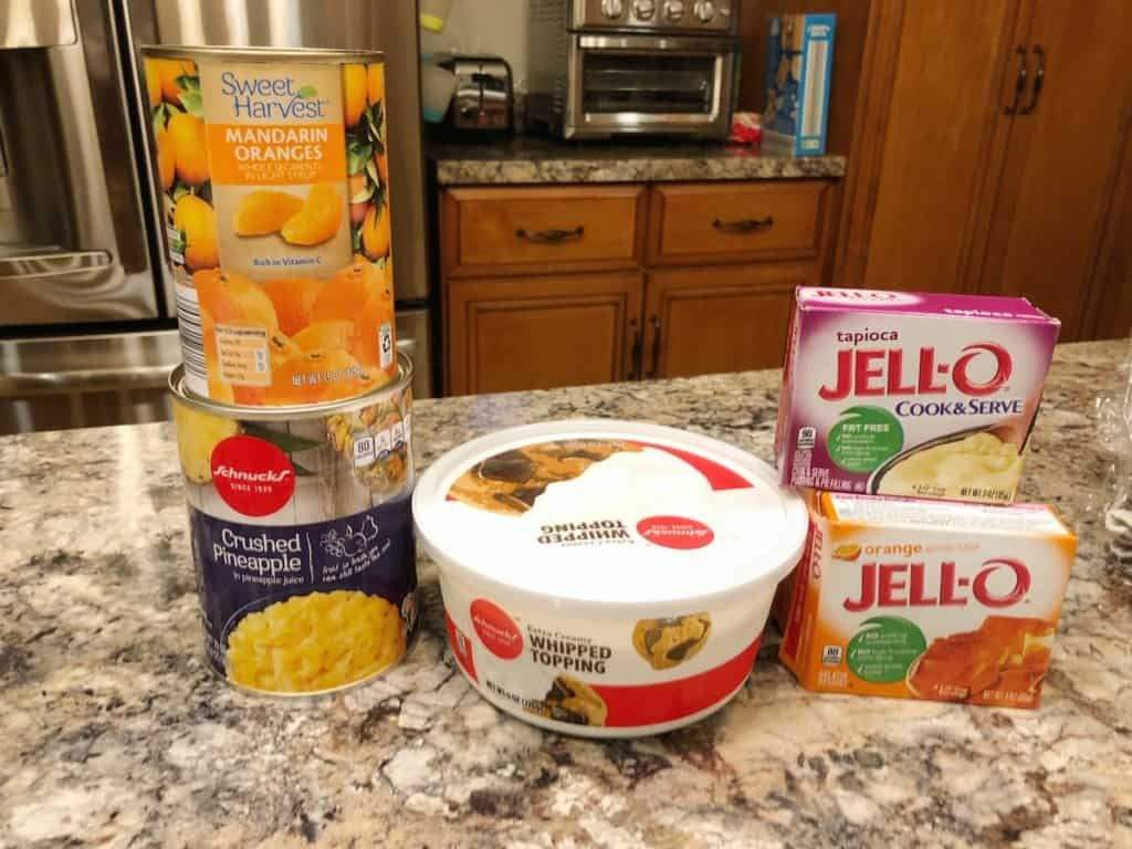 ingredients for orange fluff jello salad