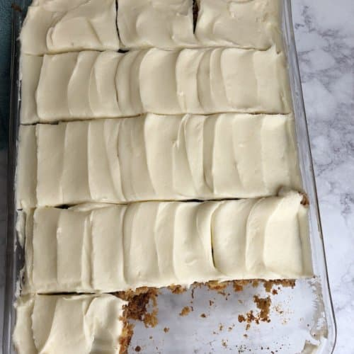 pineapple carrot cake with cream cheese frosting. Yum!
