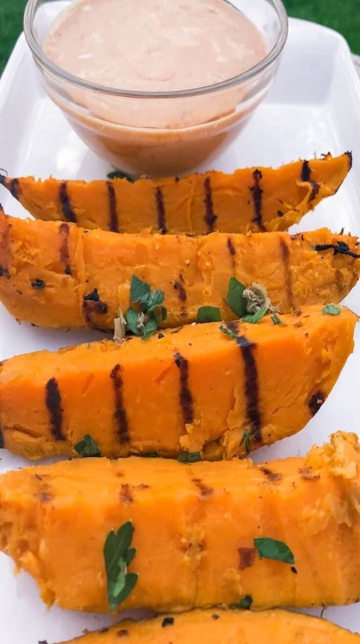 Grilled Sweet Potato Wedges with Smoky Mayo Dipping Sauce