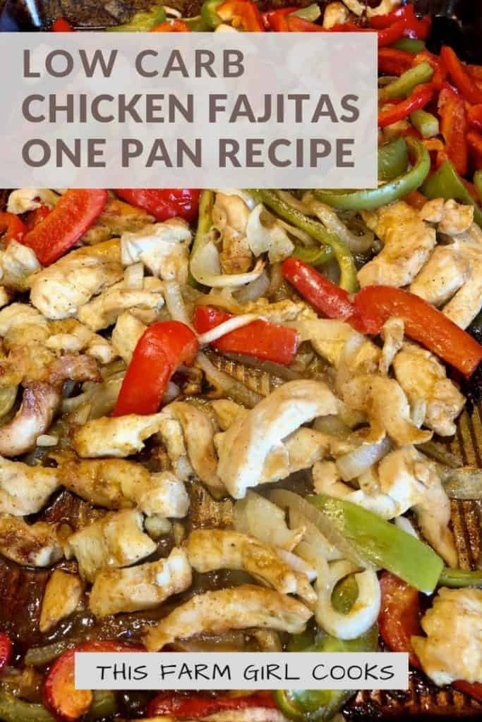 one pan chicken fajitas with onions and peppers on a sheet pan