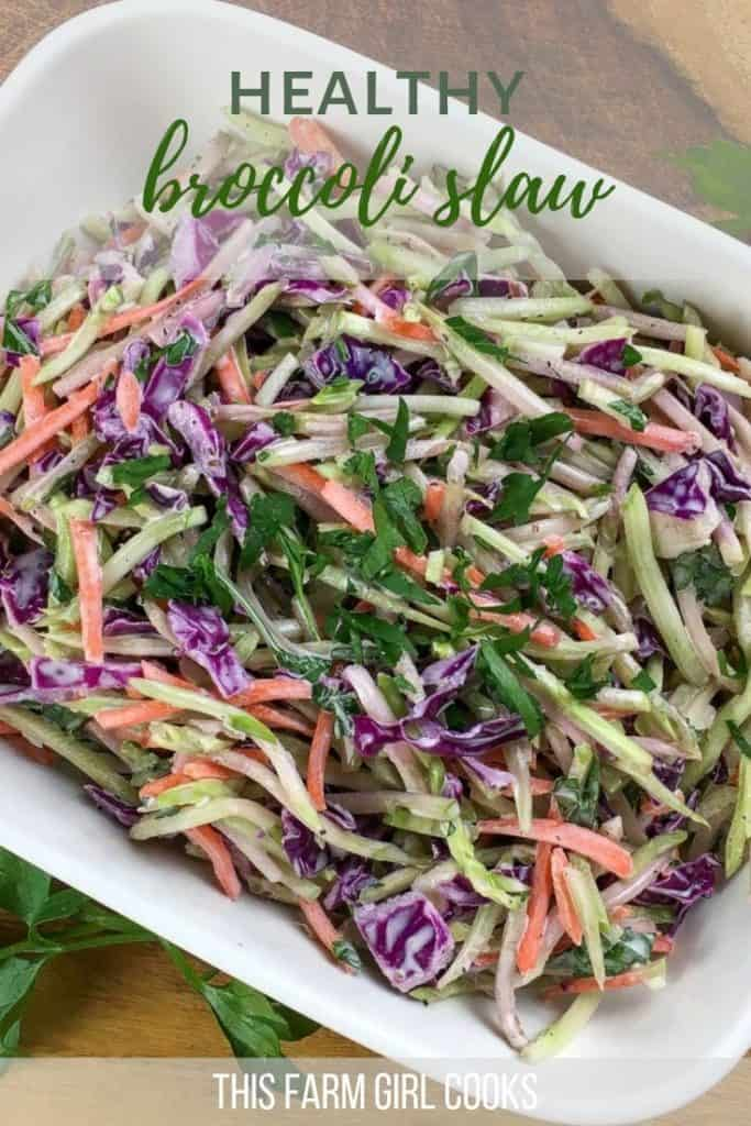 broccoli slaw with carrots and cabbage