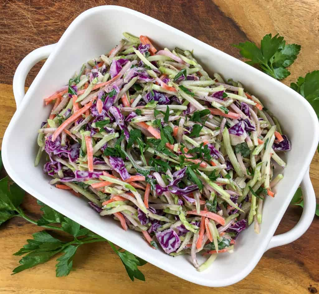 overhead view of healthy broccoli slaw