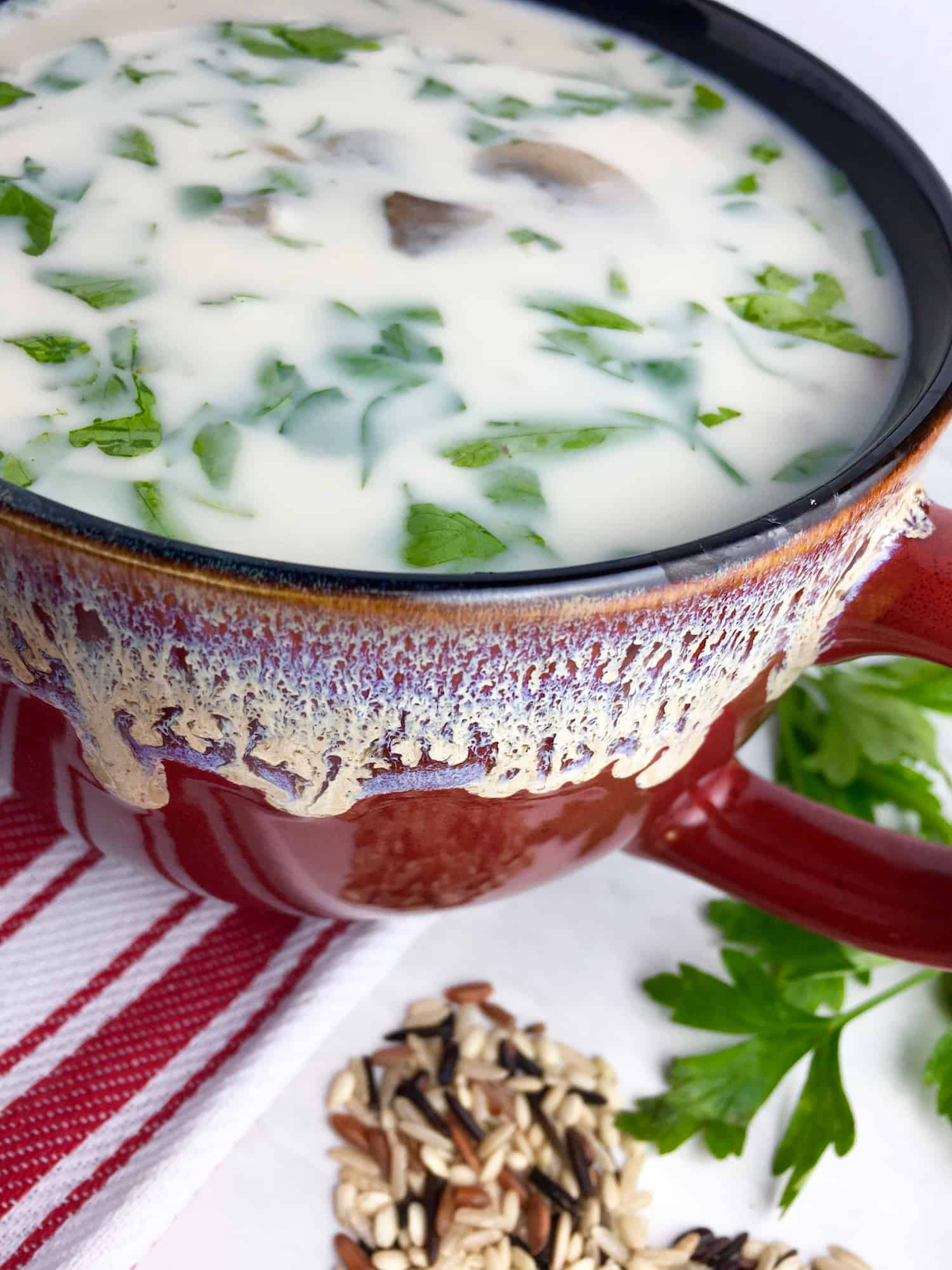 Creamy Wild Rice Mushroom Soup in the Slow Cooker