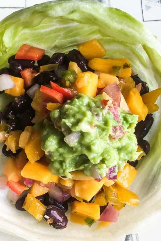 black bean taco wraps in lettuce