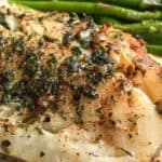 buttered cod with asparagus