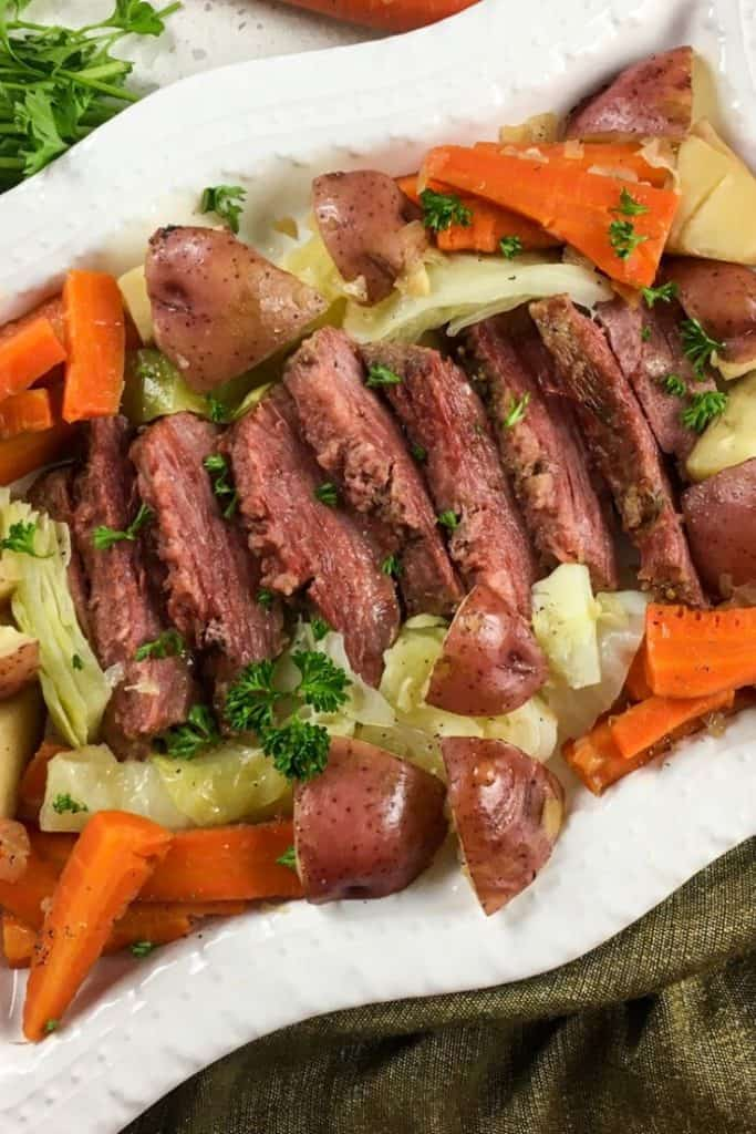 sliced corned beef and cabbage with potatoes from the instant pot