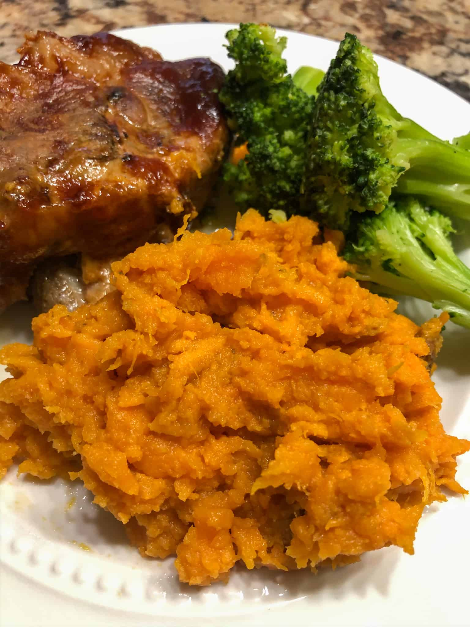 instant pot mashed sweet potatoes with pork ribs and broccoli