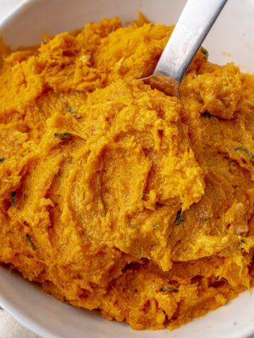 instant pot mashed sweet potatoes in a bowl