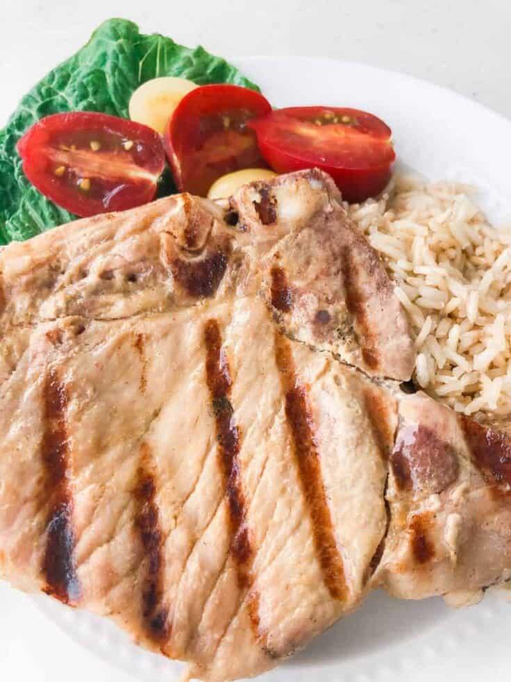 honey dijon pork chops plated