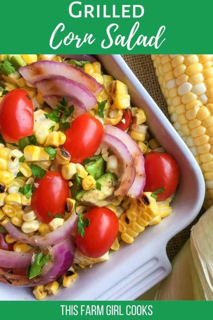 grilled corn salad with avocado, tomato and red onion