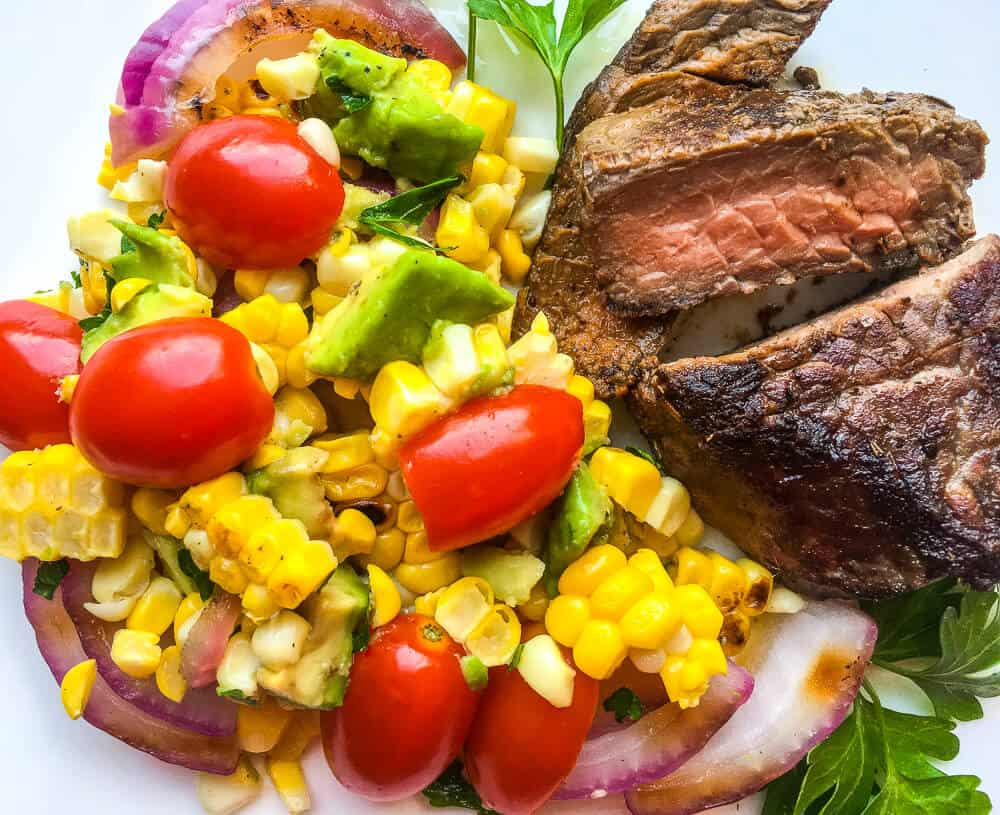 grilled corn salad with steak