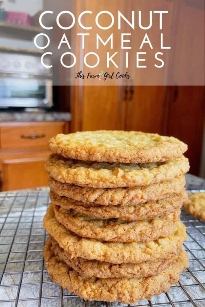 stacked oatmeal coconut cookies