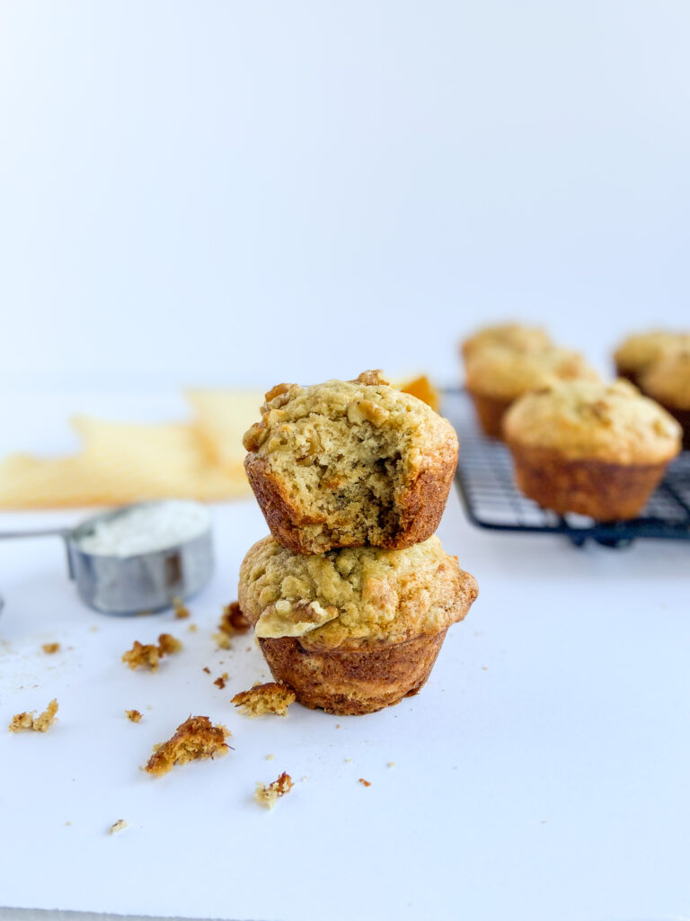 banana nut muffins stacked