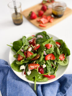 Strawberry Spinach Salad with feta plated