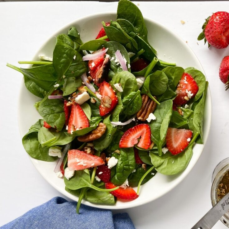 Strawberry Spinach Salad with Feta and Balsamic Vinaigrette