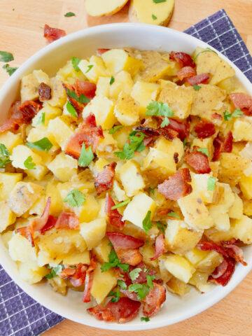 bavarian potato salad in a large bowl
