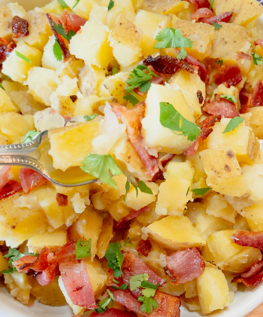 bavarian potato salad on a fork