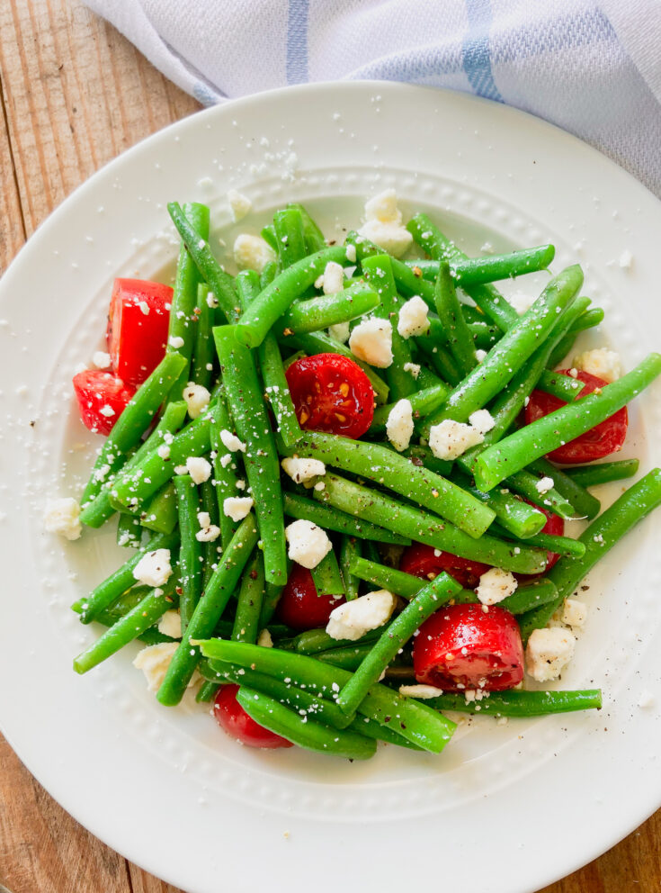 marinated green beans with feta