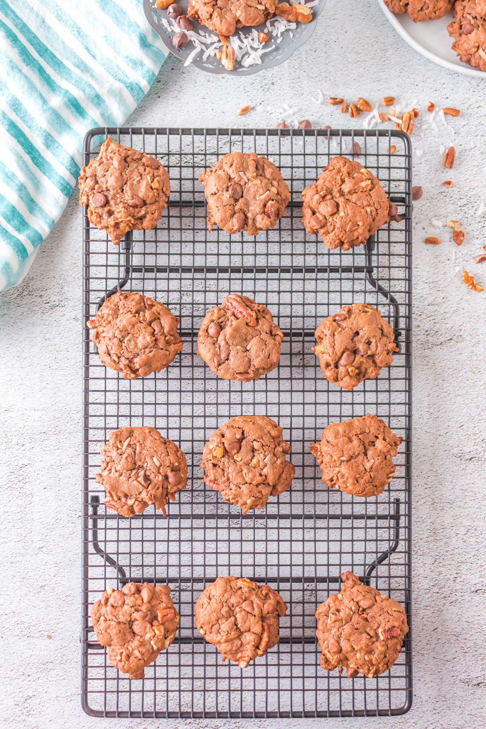german chocolate cake mix cookies on a cooling rack
