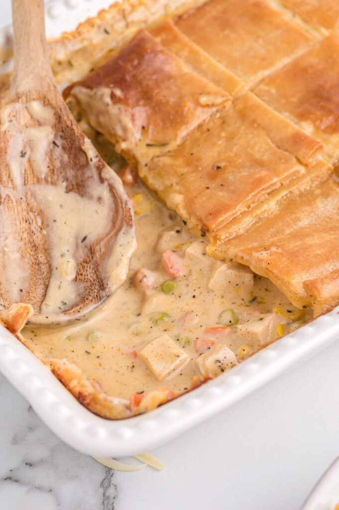 Easy chicken pot pie with puff pastry