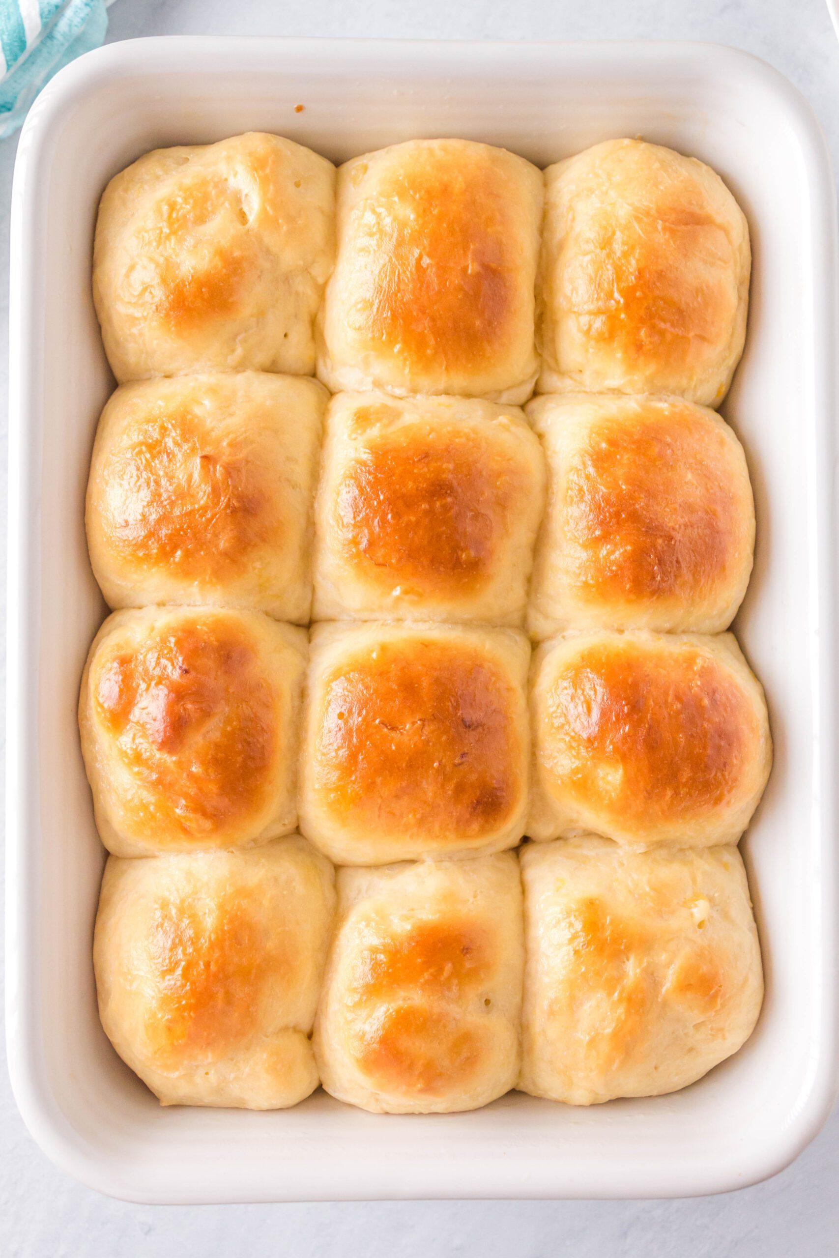 homemade hawaiian sweet rolls in a pan