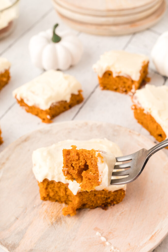 pumpkin snack cake with cream cheese frosting